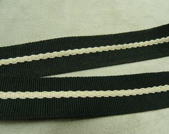 Cotton webbing strap - white on Black 2 cm