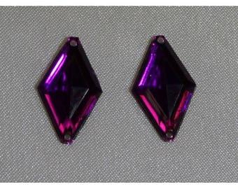 18mm x11mm - purple diamond shaped rhinestones