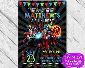Superhero Invitation, Superhero Avenger Birthday Invitation, Avenger Invitation, Super hero party, Boy Invitation,Birthday Invitation,Invite