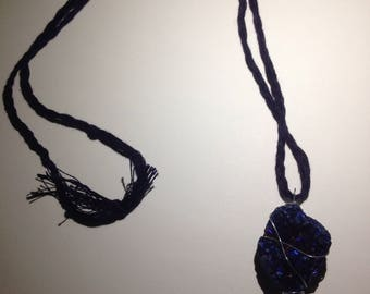Braided blue rock necklace