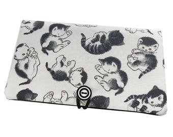 Checkbook * little black cats * white fabric