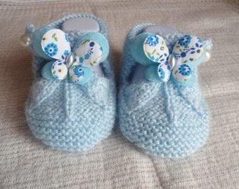 Baby wool sandalette blue butterfly shape
