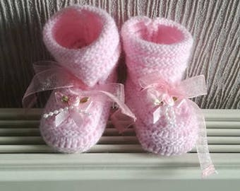 Baby / reborn wool 0/3 months pink wool