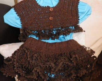 Girls ruffled bolero and skirt set