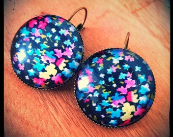 Earrings black and neon Stud Earrings