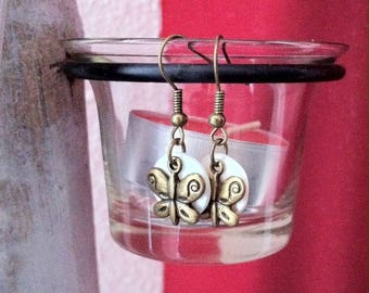 Bronze disc mother of Pearl butterfly earrings