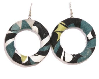 Fabric and recycled wood earrings