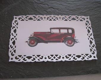 Card, cut, die, old car