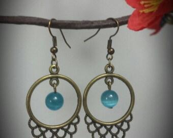 Bronze Pearl Earrings blue