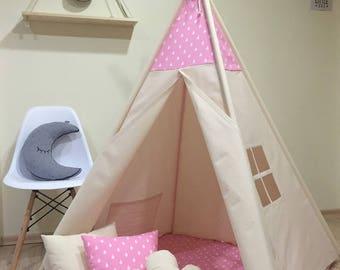 Kids teepee play wigwam tent teepee kids tent, teepee, teepee, tipi Mint set of