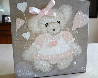 Table bear girl nursery decor.
