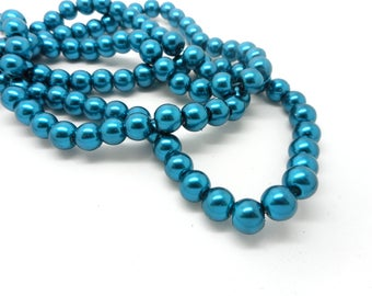 Set of 20 8 mm teal glass beads