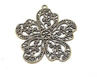 Large charm or bronze flower pendant