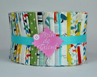 Brittany Roll quilt - fabric printed patchwork - Jelly Roll strips