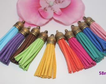 Set of 20 tassels Bronzes suede colors mixed 58mm