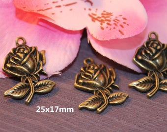 10 charms 25x17mm SC12964 Bronze Rose flower