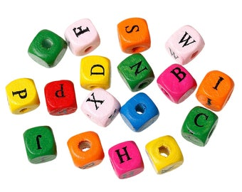 Beads wood Alphabet cube 10mm multicolored - SC12142 - 50