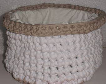 Basket, Bowl or planter in crochet hooked two-tone taupe/white