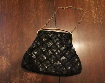 Black Sequinned Handbag with Inlaid Clasp