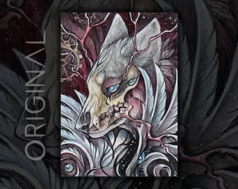 ORIGINAL ACEO Skull Wolf