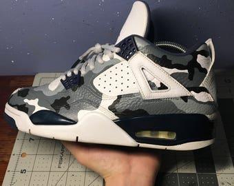 "Size 8 Air Jordan 4 ""Legend Blue"" Arctic Camo Custom"