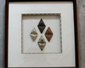 Brown and off white origami square frame