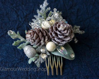 Hair Comb Pine Cones Comb Winter Wedding Bridal Woodland Wedding Winter Wedding Hair Accessory Wedding Hair Comb