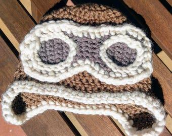 Crochet Aviator Hat - Aviator Beanie - Baby Shower Gift - Aviator Photo Prop