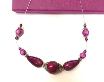 """Purple cable wire necklace """"magic pearls"""