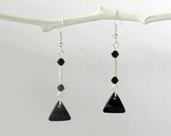 triangle swarovski pendant earrings