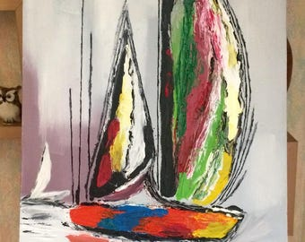 Oil painting sailboat made partially with a knife