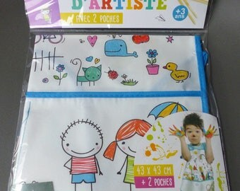 DIY kids artist apron painting to express themselves without stain with 2 pockets