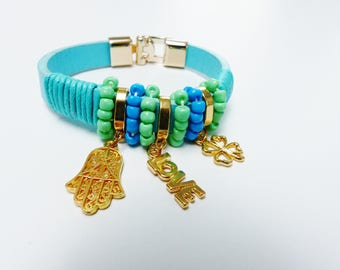 love hand lucky 4 leaf clover bracelet with charm and Pearl blue green and gold