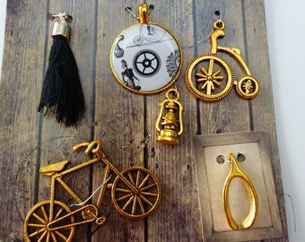 6 charms metal bicycle Lantern pompom round charms white black and gold