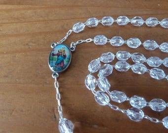 Rosary Saints transparent faceted beads