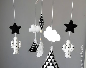 Baby mobile teepee, cactus, clouds, stars black and white