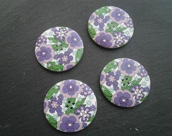 button wood flower purple 50mm