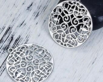 2 pendants Buddhist Mandala openwork silver 33mm x 30mm
