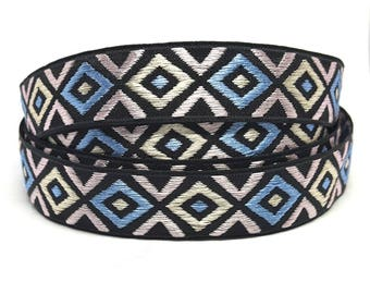 Woven jacquard Ribbon pattern geometric black blue and white - width 20 mm textile design and accessories diy /Sweetchicmercerie