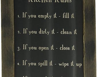 Shabby Chic Wood Framed Kitchen Rules Blackboard Picture French Country-wall gallery-Love-Love you Home Decor FRENCH COUNTRY DECO