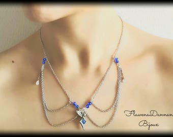 Mid-long necklace with opalite and Moonstone