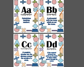 Alphabet Banner With Math Terms