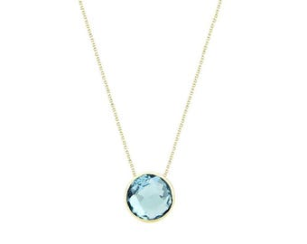 14k Yellow Gold Handmade Necklace With 6mm Round Shape Checkerboard Blue Topaz Solitaire