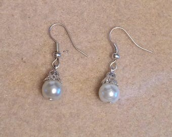 Glass Pearl And Silver Dangle Drop Earrings Handmade