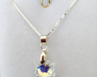 Edelweiss Crystal pendant swarovski white Aurora Borealis element on 925 sterling silver chain
