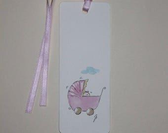 bookmark or gift gift tag pink pram