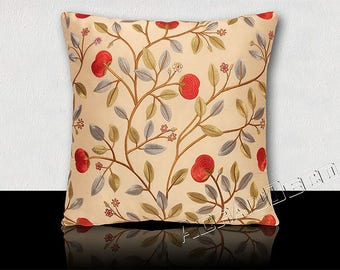 "Pillow ""MEDLAR"" - peanuts and leaves embroidered on silk-red/blue/green on ivory background."