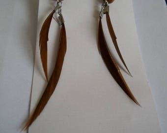 Earrings wooden beads and brown feathers