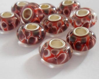 Red/Burgundy glass European Charms beads