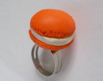 Orange polymer clay macaroon ring
